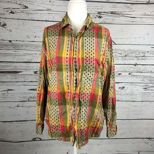 Vintage 90s Plaid Embroidered Dot Button Up Shirt